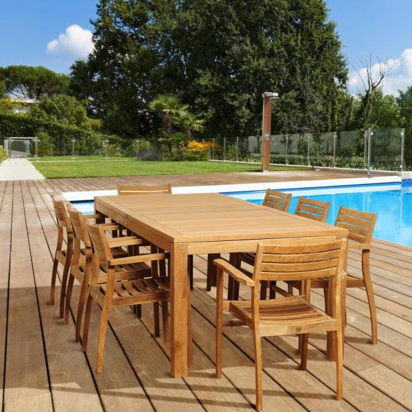 Patio Dining Sets   Outdoor Dining Chairs   Sears Amazonia Eureka 9 Piece Rectangular Teak Patio Dining Set