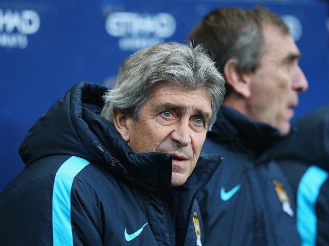 Manuel Pellegrini looks on during the Premier League match between Manchester City and Tottenham Hotspur at the Etihad Stadium on February 14, 2016