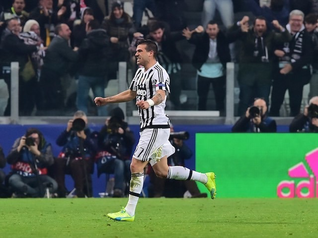 Stefano Sturaro celebrates during the Champions League game between Juventus and Bayern Munich on February 22, 2016