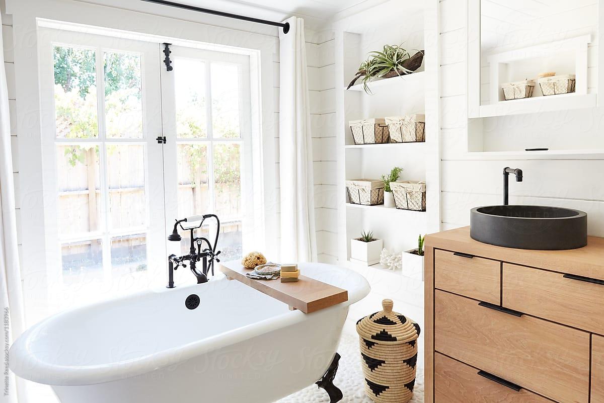 Rustic Modern Farmhouse Bathroom In Small Cottage ... on Rustic Farmhouse Bathroom  id=88878