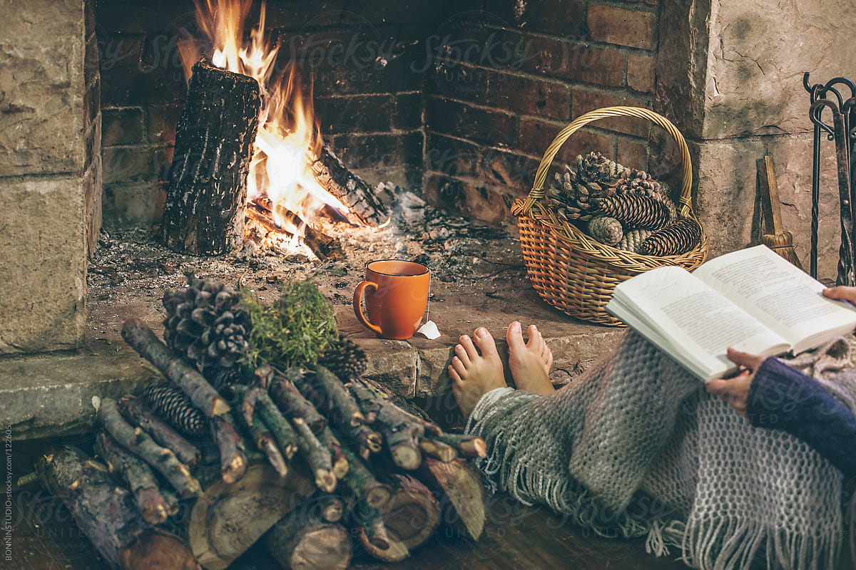 Cozy Home Woman Reading A Book In Front Fireplace