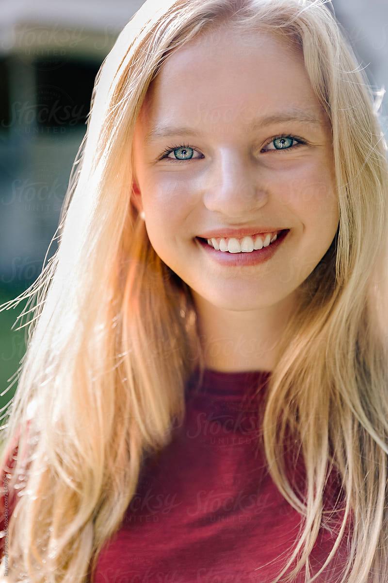 Portrait Of Beautiful Blond Teen With Blue Eyes Girl ... on Beautiful Teen Girl  id=76441
