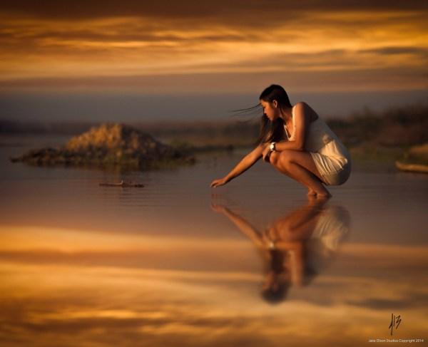 обои : Солнечный лучик, женщины, закат солнца, море, воды ...