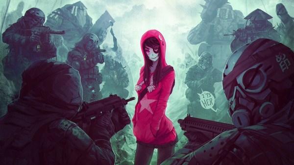 обои : Иллюстрация, Пушка, Аниме девушки, Красный ...