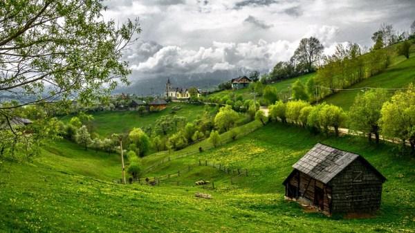 Wallpaper landscape hill nature field green village