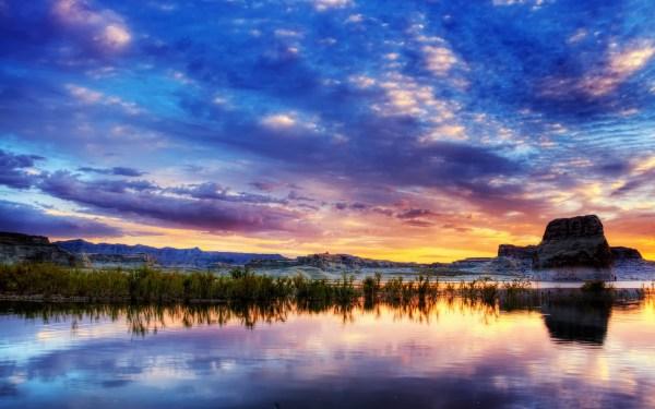 обои : Солнечный лучик, пейзаж, Горы, закат солнца, море ...