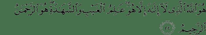 sura al hashr ayat 22