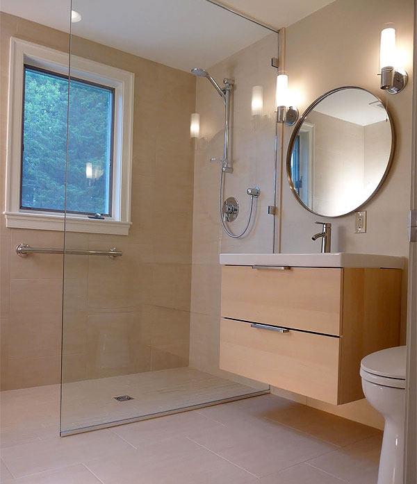 Bathroom idea cureless walk-in shower