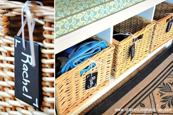 Personalized baskets for children's belongings