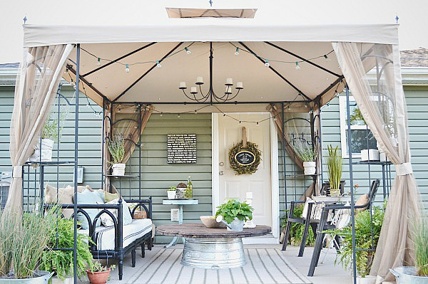 Canopy over a home deck