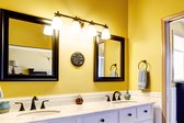 Bathroom with yellow wall paint