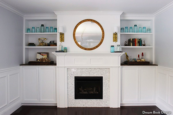 Built-in shelves and a gas fireplace