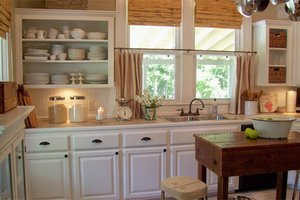 kitchen white open shelves