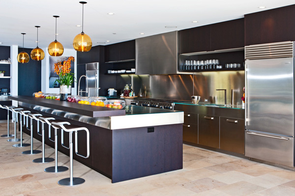 Large kitchen with multiple stools