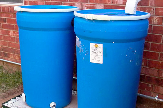 Rain barrels made from recycled food containers