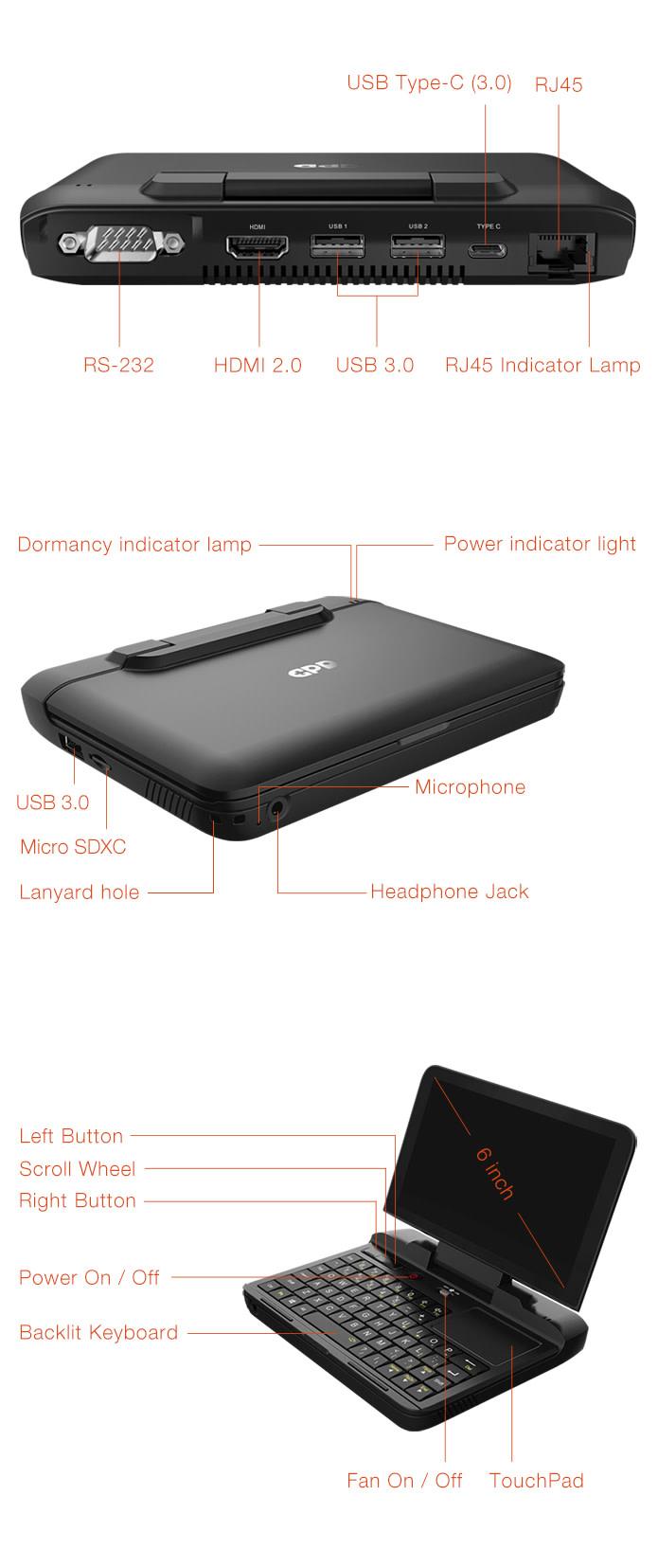 Windows 10 Pro or Ubuntu MATE. Supports RS-232, RJ45, Type C, USB 3.0, HDMI, microSDXC.