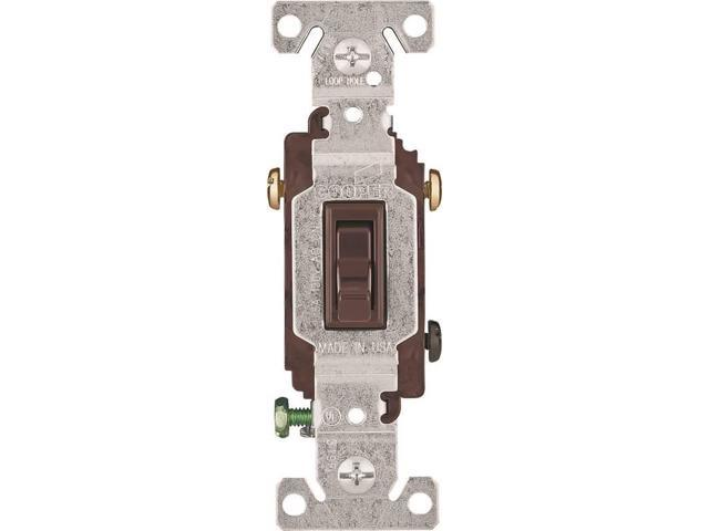 Cooper Wiring 1303B 3-Way Brown Toggle Switch Standard