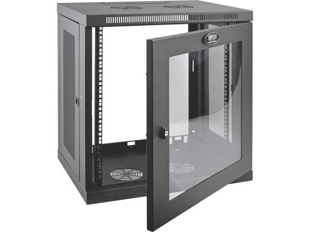 tripp lite 12u wall mount rack enclosure server cabinet w glass front door