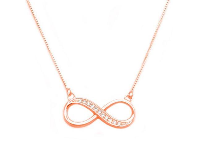 Tioneer Sterling Silver Half CZ Infinity Pendant With