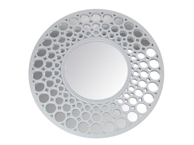 "24.75"" Glamorous Cascading Orbs White Framed Round Wall"