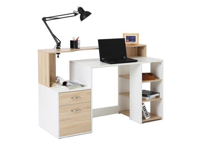 Homcom Computer Table Desk Pc Desktop Drawer Home Office Furniture White