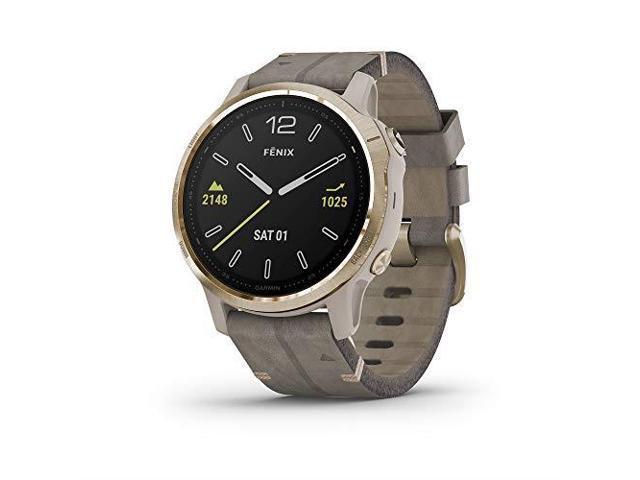 Garmin Fenix 6S Sapphire, Premium Multisport GPS Watch, -Light Gold-tone with Shale Gray Leather - (010-02159-39)