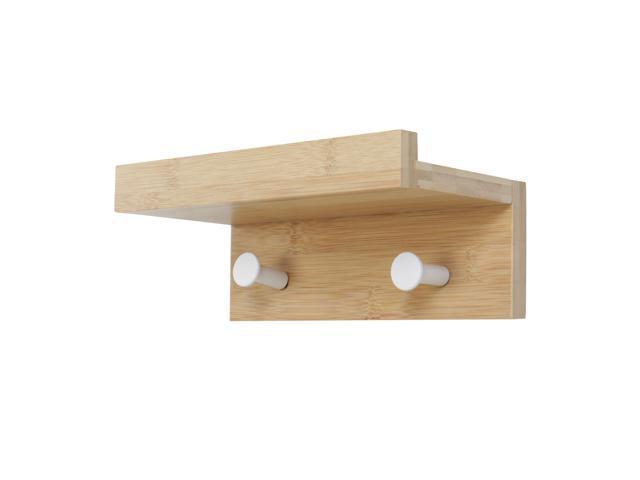 Coat Hook Rack Wall Mounted Bamboo 2 Hooks Upper Shelf For Bathroom Living Room Bedroom Towel Cloth Hanger Wood Color Newegg Com