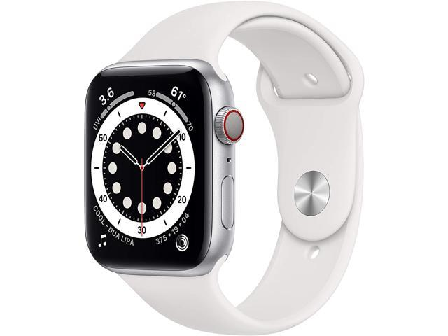 Apple Watch Series 6 44mm Silver Aluminum Case with White Sport Band GPS + Cellular M07F3LL/A