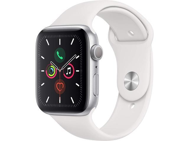 Apple Watch Series 5 (GPS Only, 44mm, Silver Aluminum, White Sport Band)