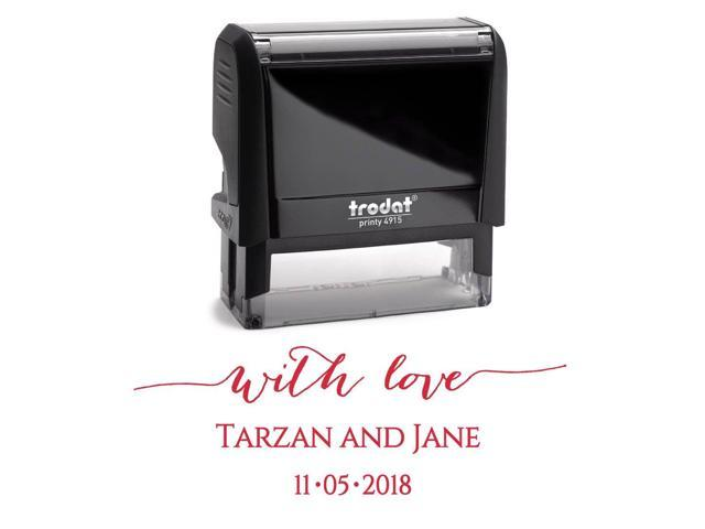 Red Ink Personalized Custom Self Inking Save The Date Stamp Newlywed Thank You For Wedding Invitations Or Cards Newegg Com
