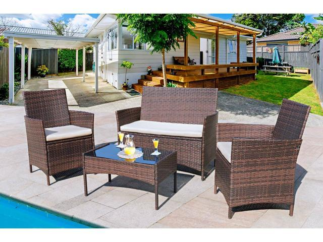 homall 4 pieces outdoor patio furniture sets rattan chair wicker set outdoor indoor use backyard porch garden poolside balcony furniture clearance