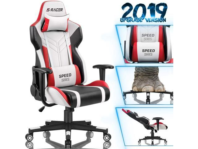 Homall Gaming Chair Racing Style High Back Pu Leather Office Chair Computer Desk Chair Executive And Ergonomic Swivel Chair With Headrest And Lumbar Support White Red Newegg Com