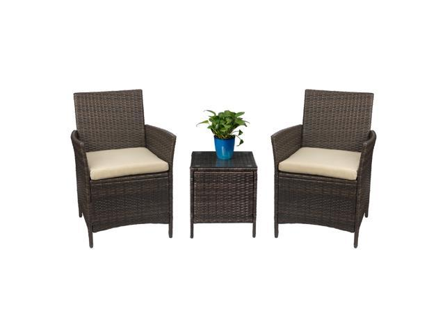 devoko patio porch furniture set 3 piece pe rattan wicker chairs beige cushion with table outdoor garden furniture sets rattan brown