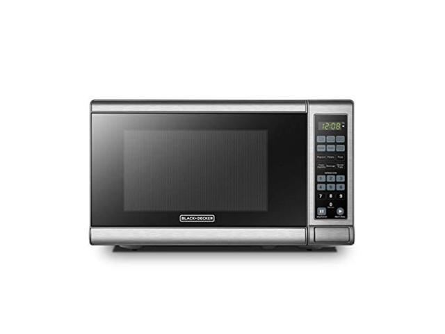 black decker em720cb7 digital microwave oven with turntable push button door child safety lock 700w stainless steel 0 7 cu ft