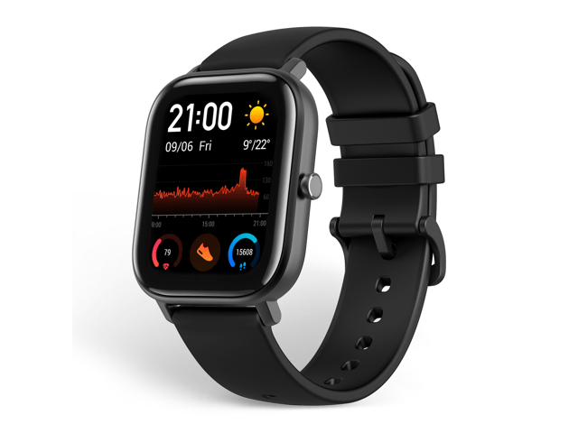 """Amazfit GTS Smartwatch, 1.65"""" AMOLED Display, Slim Metal Body, Smart Notifications, Activity Tracking, 14-Day Battery Life, Water Resistance, Obsidian Black"""