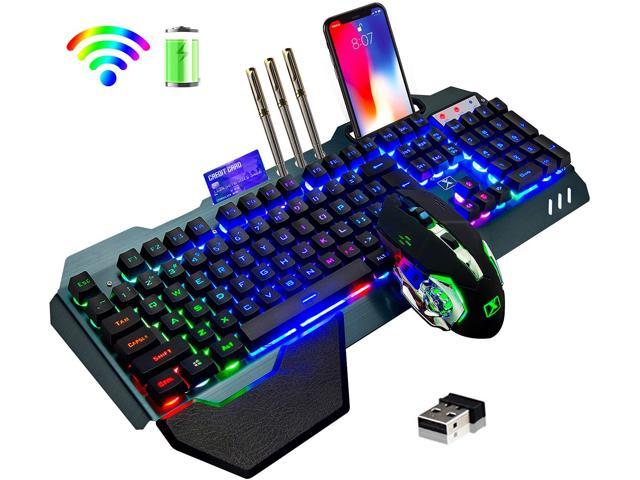 Wireless Gaming Keyboard And Mouse Rainbow Backlit Rechargeable Keyboard Mouse With 3800mah Battery Metal Panel Removable Hand Rest Mechanical Feel Keyboard And 7 Color Gaming Mute Mouse For Pc Gamers Newegg Com