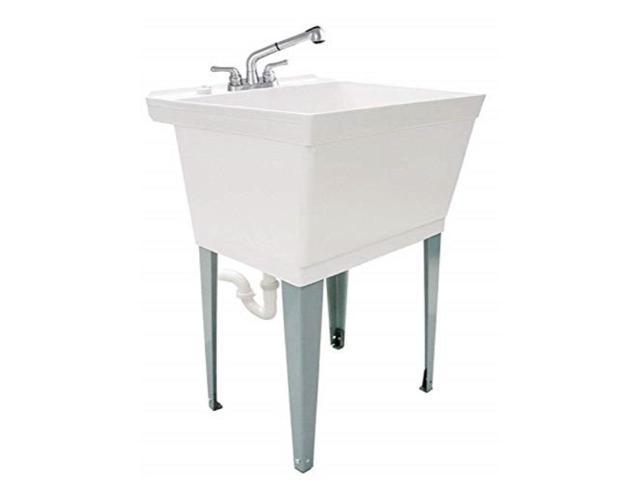 white utility sink laundry tub with pull out chrome faucet sprayer spout heavy duty slop sinks for washing room basement garage or shop large