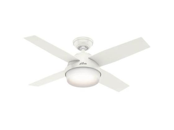 Hunter 59246 44 in  Dempsey Fresh White Ceiling Fan with Light and     Dempsey Fresh White Ceiling Fan with Light and Remote