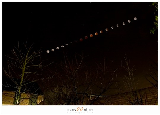 Totale maansverduistering in 2008 - een collage
