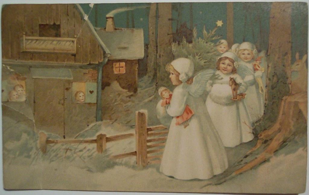 Vintage Christmas Angels Postcard Dave Flickr