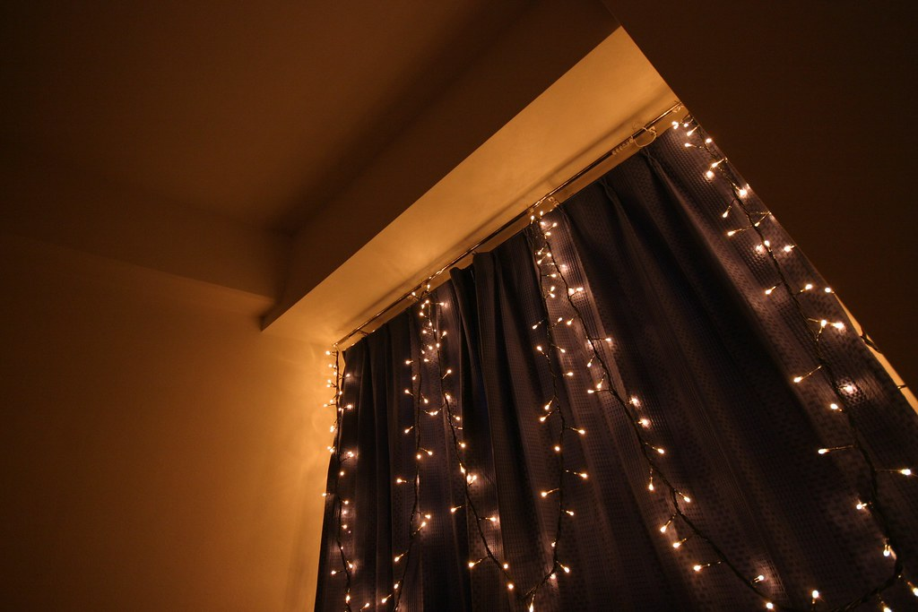 View Of My Bedroom Window With Fairy Lights In My Tokyo
