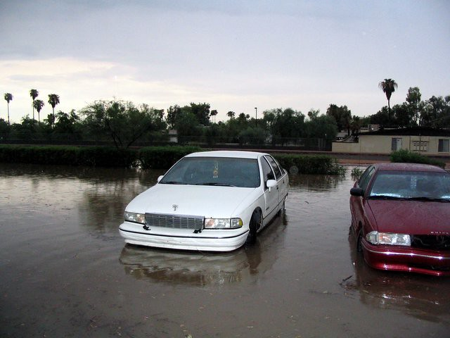 Flooded parking lot.