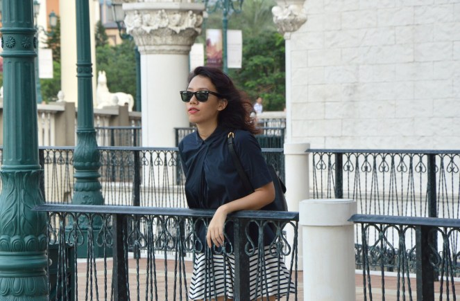 Striped skirt, ray ban wayfarer, the venetian macao, macau, COS navy collared blouse