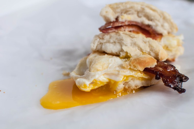 Maple and Brown Sugar Bacon and Egg Biscuits 6