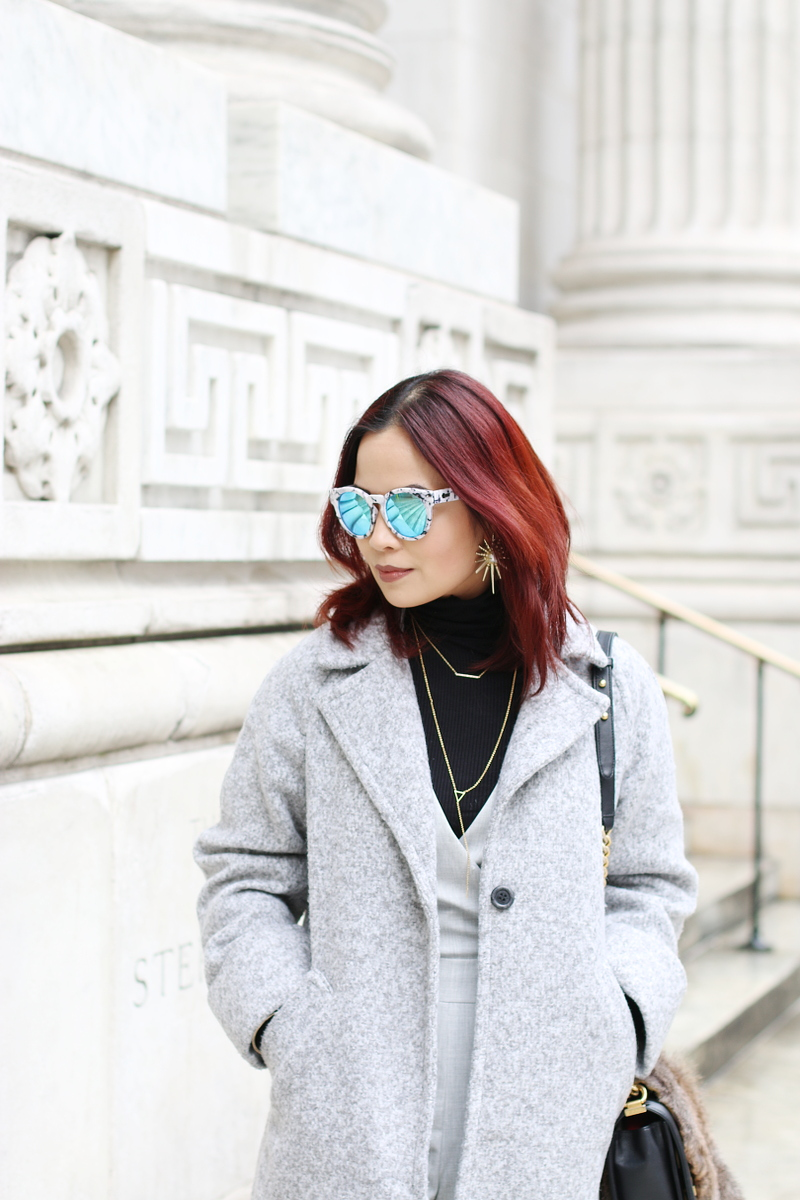 quay-sunglasses-kendra-scott-earrings-turtleneck-gray-coat-suit-6