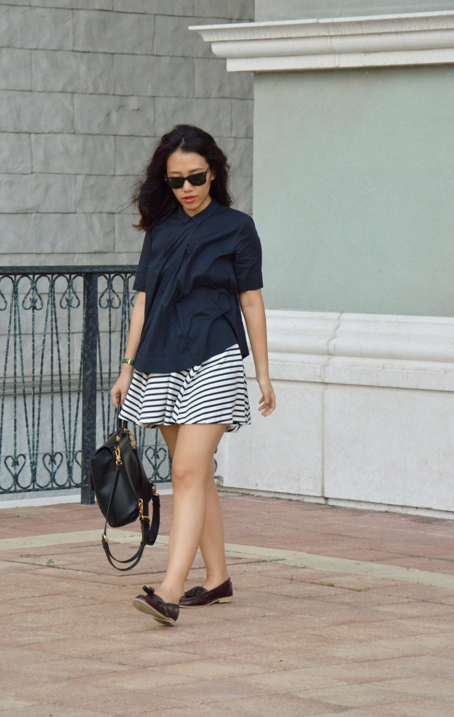 Striped skirt, asos tassel loafers, ray ban wayfarers, COS navy collared blouse
