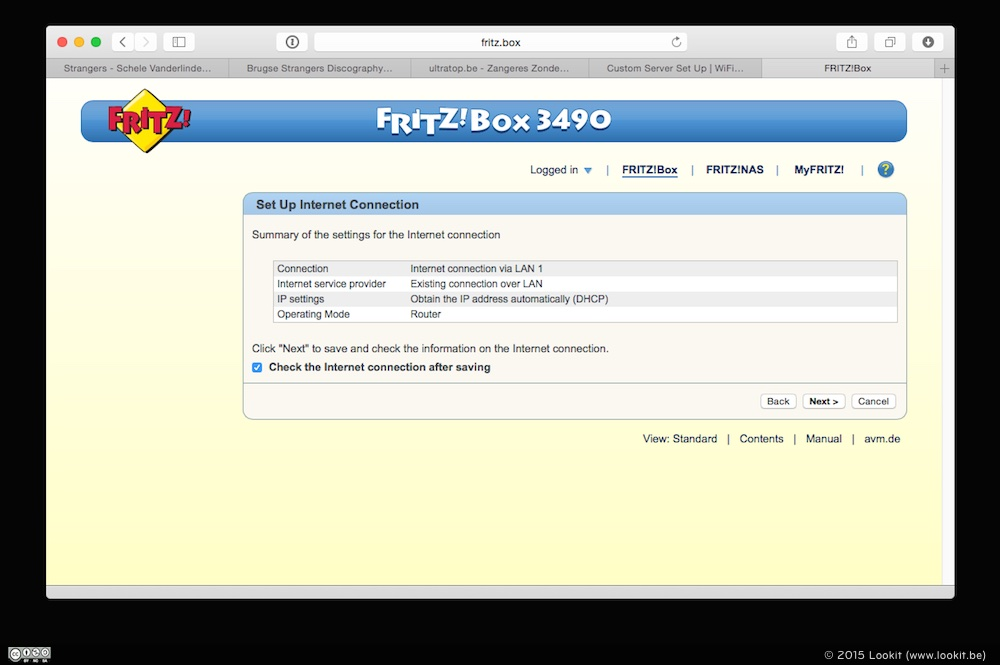 Na een paar minuten was de FRITZ!Box 3490 klaar voor gebruik.