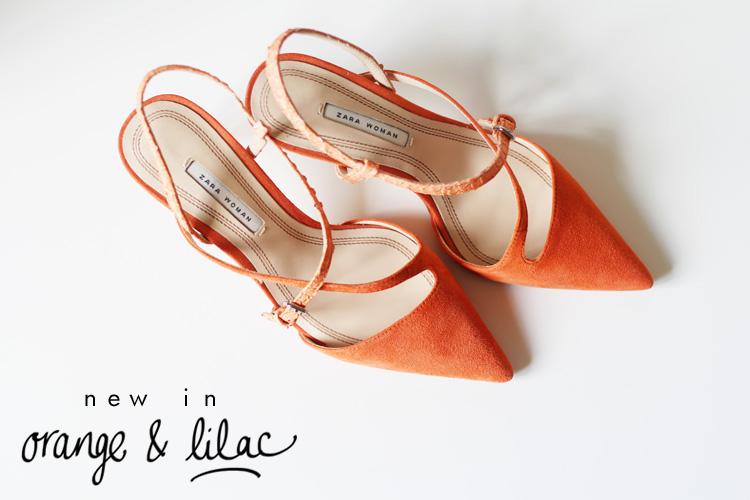 Orange and Lilac Zara heels