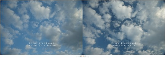 Misschien wel het bekendste effect van een polarisatiefilter: contrast in een met wolken bezaaide lucht.