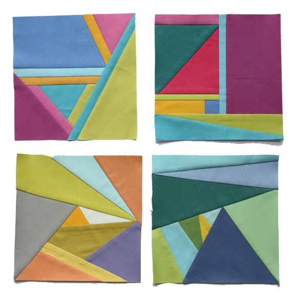 Abstract modern paper pieced blocks